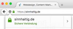 Eine sichere Webseite mit https-Adresse und Schloss-Symbol