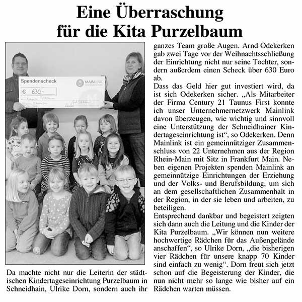 Mainlink Spende an Kindereinrichtung in Königstein im Taunus