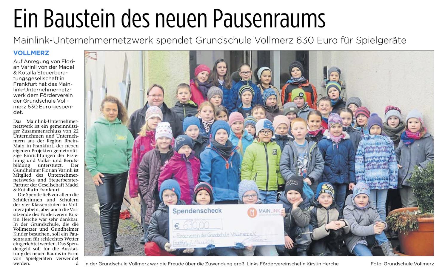 Mainlink-Unternehmer-Netzwerk-Spende-Grundschule Vollmerz