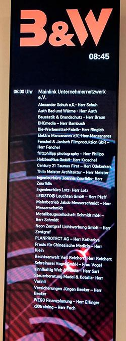 Digitale Besuchertafel bei B&W